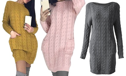 Womens Cable Knit Jumper Dress