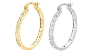 Genuine Diamond Accent Hoop Earrings