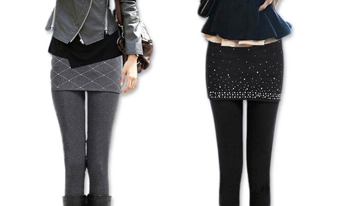 leggings mit rock und strass groupon goods. Black Bedroom Furniture Sets. Home Design Ideas