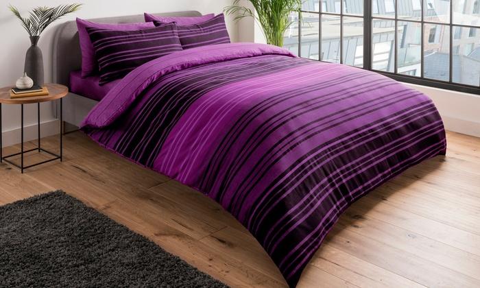 Pieridae Textured Stripe Duvet Cover Set for £5.99