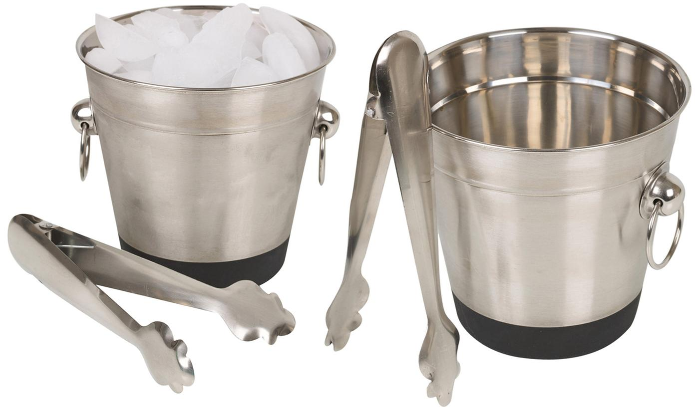 One or Two Ice Bucket and Tongs Sets