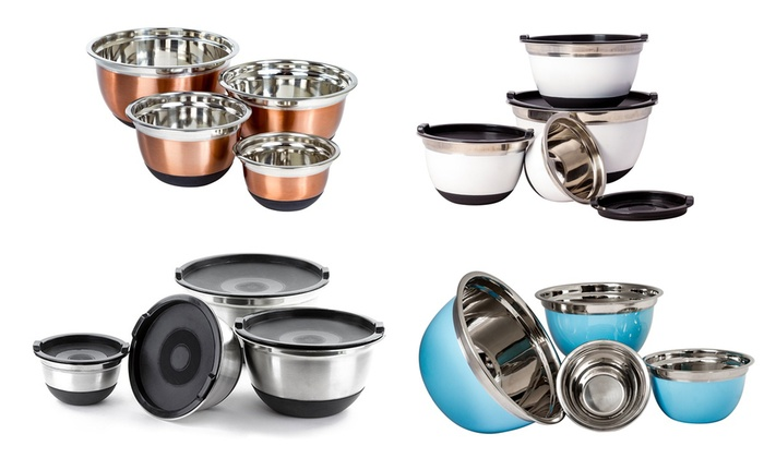 Stainless Steel German Mixing Bowls Set (3-, 4-, 8-, or 10-Piece)