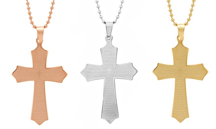 Lord's Prayer Cross Pendant in Stainless Steel