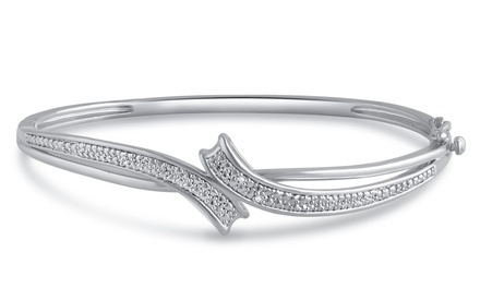 14K Gold Plated Diamond Accent Bangle by Brilliant Diamond