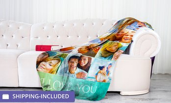 Up to 84% Off Personalized Photo Blankets from Printerpix