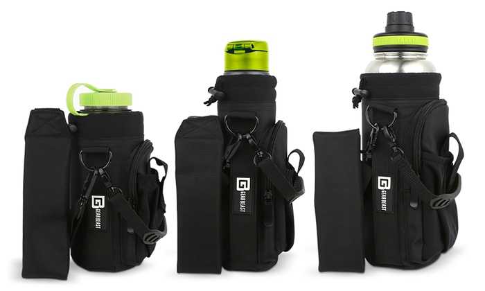 Gear Beast Water Bottle Carrier with Flask Handle, Shoulder Strap, and Two Pockets
