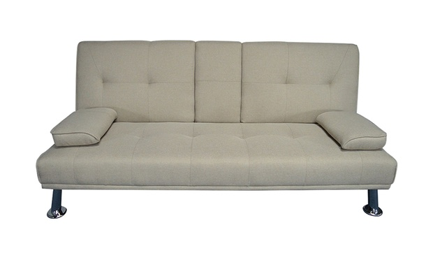 Three seater fabric sofa bed groupon goods for Sofa bed groupon