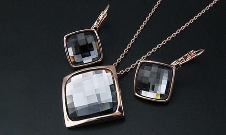 Set de colgante y pendientes de cristal negro cuadrado