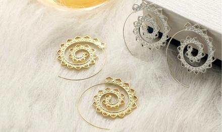 Gear-Shaped Circle Earrings