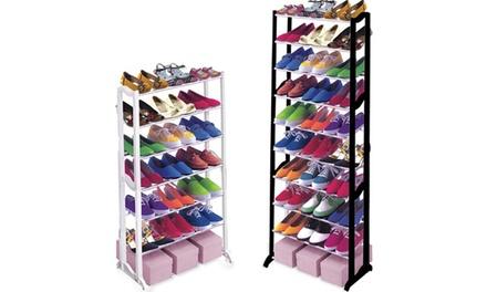1 ou 2 portant à chaussures, pouvant contenir 20 ou 30 paires, en acier chromé
