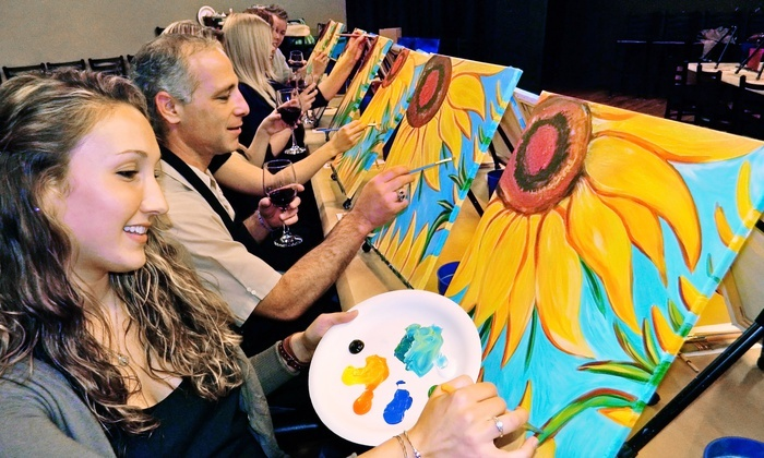 Painting & Vino-Los Angeles - Multiple Locations: Painting Class for One or Two at Painting & Vino-Los Angeles (Up to 48% Off)