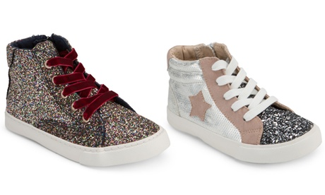 Olivia Miller Girl's Glitter High-Top Sneakers