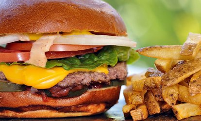 image for Burger with Fries and Glass of Wine or Beer for Two or Four at Wings Gourmet Burger