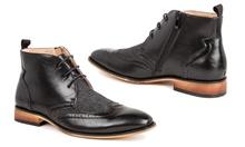 Deals on Gino Vitale Mens Wingtip Brogue Herringbone Dress Boots