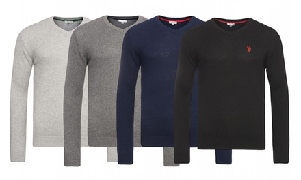 U.S. POLO ASSN V-Neck Pullover für Herren in der Farbe nach Wahl (75% sparen*)