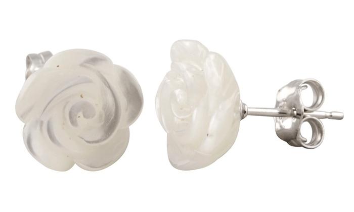 Mother Of Pearl Flower Earrings In Sterling Silver