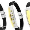 Men's Swarovski Elements ID Bracelets in Rubber and 18K Gold