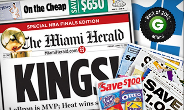 "Miami Herald - Miami: $9 for 12-Month Sunday Home Delivery to the ""Miami Herald"" ($80.13 Value)"