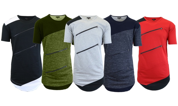 Men's Solid and Marled Zipper T-Shirt