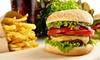 Burger mit Pommes frites & Drink