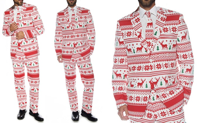 Braveman Men's Ugly Christmas Suits with Matching Tie | Groupon