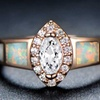 White Fire Opal & Marquise-Cut Cubic Zirconia Ring by Gembassy