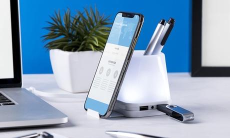 Soporte para bolígrafos con puerto USB integrado y soporte para teléfono