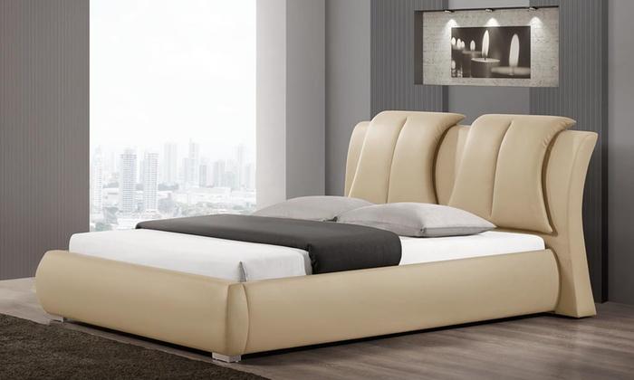Upholstered platform bed groupon goods for Beds groupon