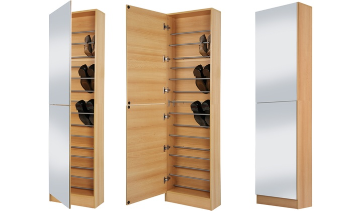 Groupon Goods Global GmbH: Shoe Cabinet With Mirror Doors In White Or Oak  Effect ... Part 70