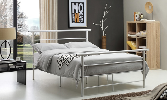 Hodedah metal bed frame groupon goods for Bed frame deals