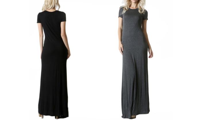 Women's Cap-Sleeve Maxi Dress