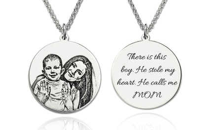 Personalised Sterling Silver Necklace with Photo Pendant and Engraving: One ($45) or Two ($85) (Dont Pay up to $416.14)