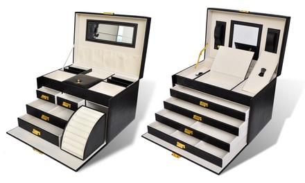 bo te bijoux 5 plateaux et 4 tiroirs avec miroir groupon shopping. Black Bedroom Furniture Sets. Home Design Ideas