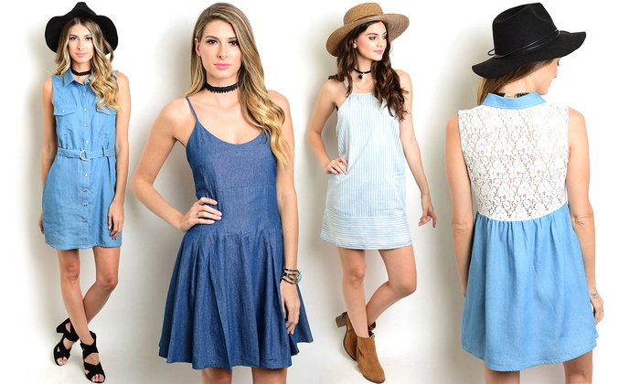 Women's Junior Sleeveless Denim Mini Dresses