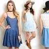 Women's Junior Sleeveless Denim Mini Dresses