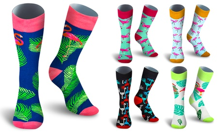 Up to Five Pairs of Cotton Casual Flamingo Printed Socks