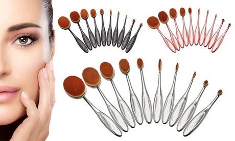 Five or Ten-Piece Beautiful You Oval Makeup Brush Sets