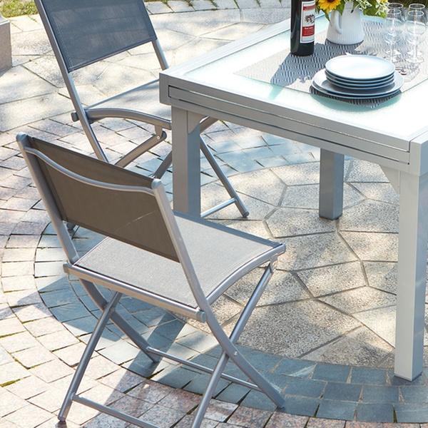 Table de jardin à rallonge alu/verre trempé 8 personnes avec 4 ou 8 chaises