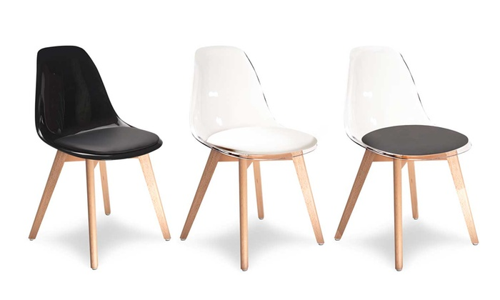 chaises scandinaves transparentes groupon shopping. Black Bedroom Furniture Sets. Home Design Ideas