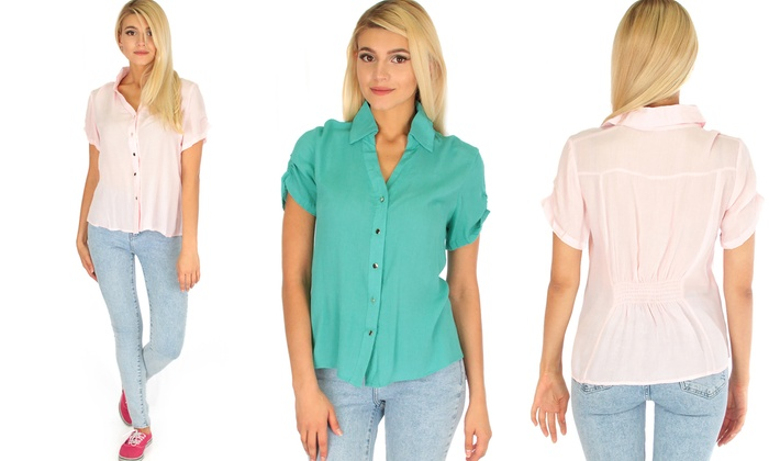 Casually Cute Women's Button-Up Back-Synch Top