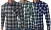 Kariertes Herren-Hemd mit langen Ärmel und Brusttasche