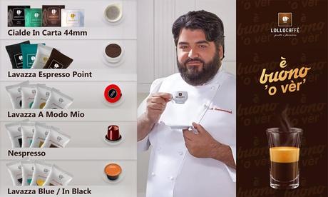Fino a 600 capsule o cialde Lollo Caffè compatibili con macchinette Lavazza e Nespresso disponibili in varie miscele