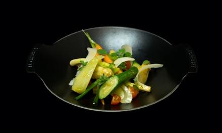 Menu en 3 services concocté par le chef Jérôme Héraud pour 2 convives à 75 € au restaurant La Table du Cantemerle