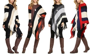 Women's Color-Blocked Fringe Poncho