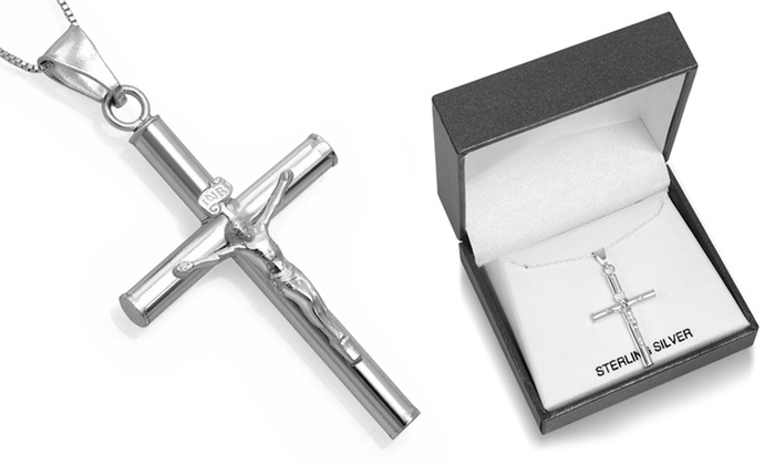"""Gift Boxed Solid Sterling Silver Crucifix Cross Pendant and 18/"""" chain"""