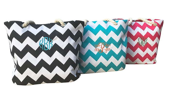 Social Monograms: $22.99 for a Custom Monogrammed Chevron Nylon Tote Bag from Social Monograms ($49.99 Value)