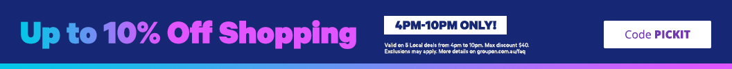 Get up to 10% off 4pm-10pm ONLY. Valid on Shopping deals with code PICKIT. Some deals excluded.