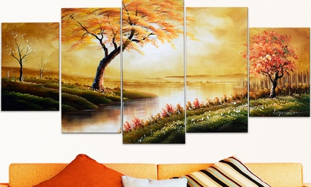 Multipanel Hand-Painted Oil Paintings and Gallery-Wrapped Prints on Canvas