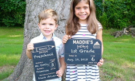 """One, Two, or Three Personalized """"First Day of School"""" Chalkboards from 2712 Designs (Up to 65% Off)"""