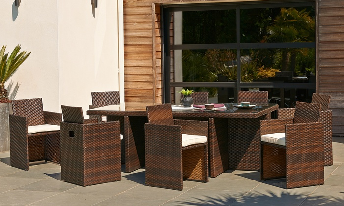 salon de jardin 8 places groupon shopping. Black Bedroom Furniture Sets. Home Design Ideas
